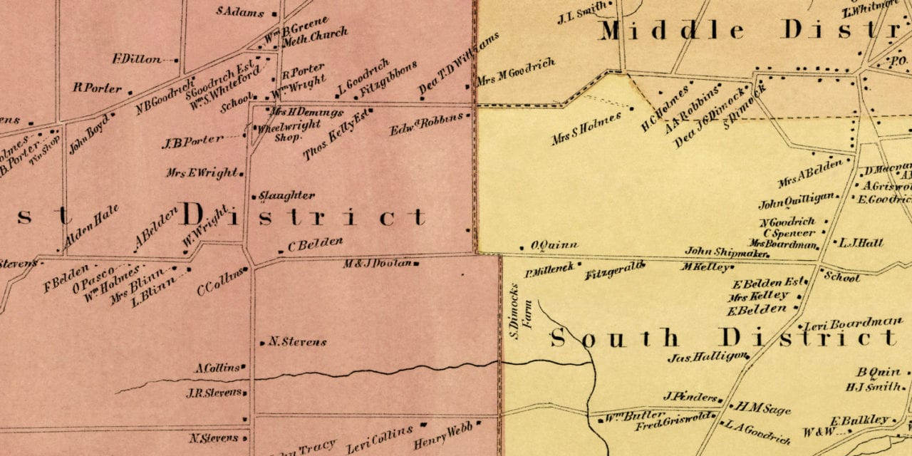 Beautifully restored map of Rocky Hill, CT from 1869