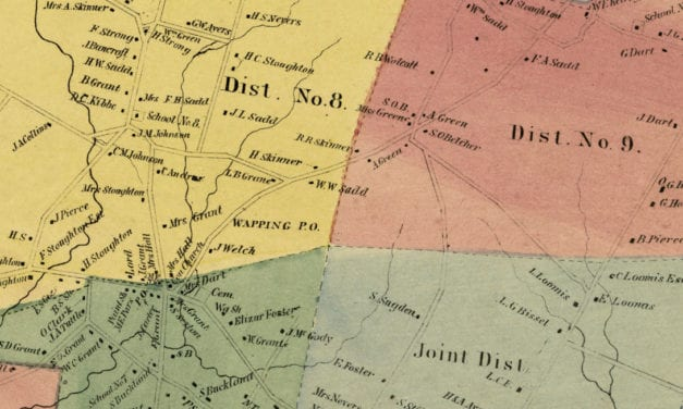 Historic landowners map of South Windsor, CT from 1869