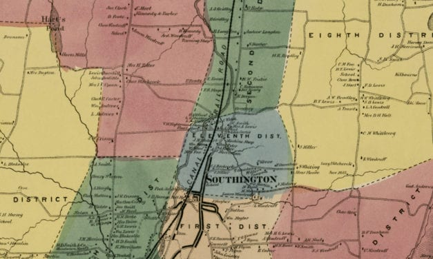 Historic landowners map of Southington, CT from 1869