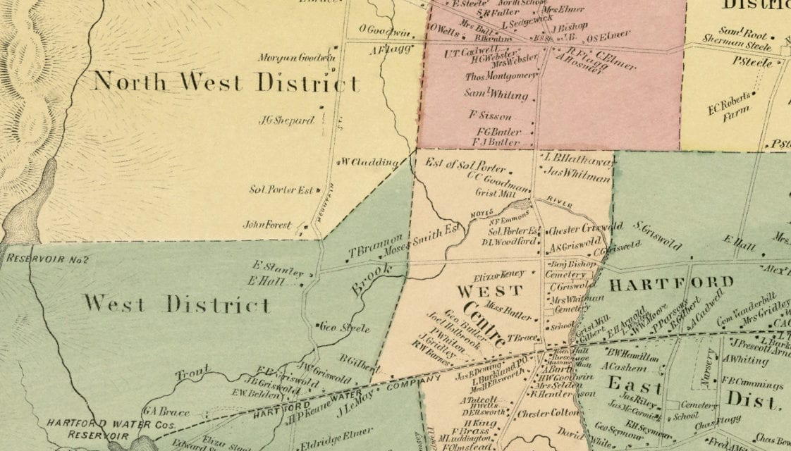 Historic landowners map of West Hartford, Connecticut from 1869