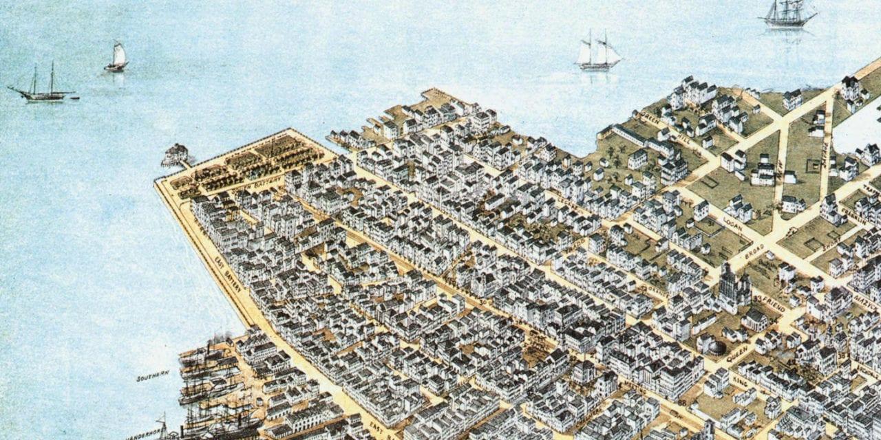 Bird's Eye View of Charleston, South Carolina in 1872