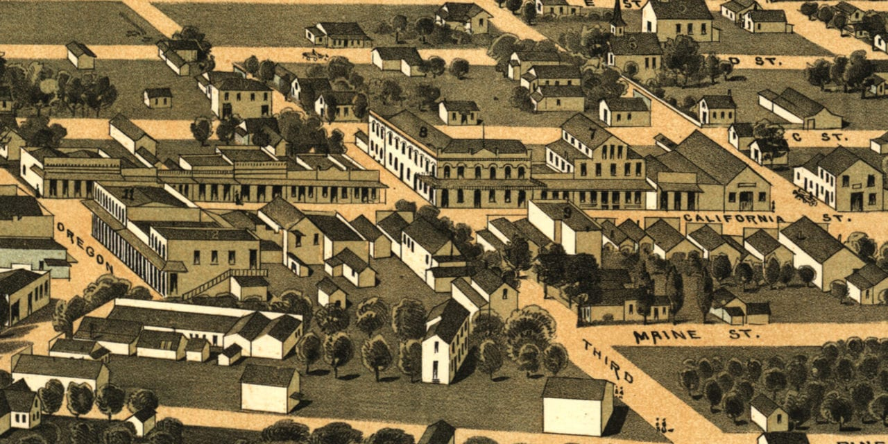 Beautifully restored map of Jacksonville, Oregon from 1883