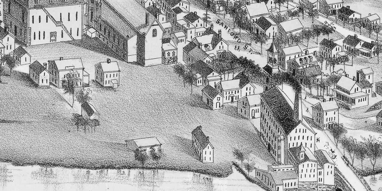 Beautifully detailed map of Medway, Massachusetts from 1887