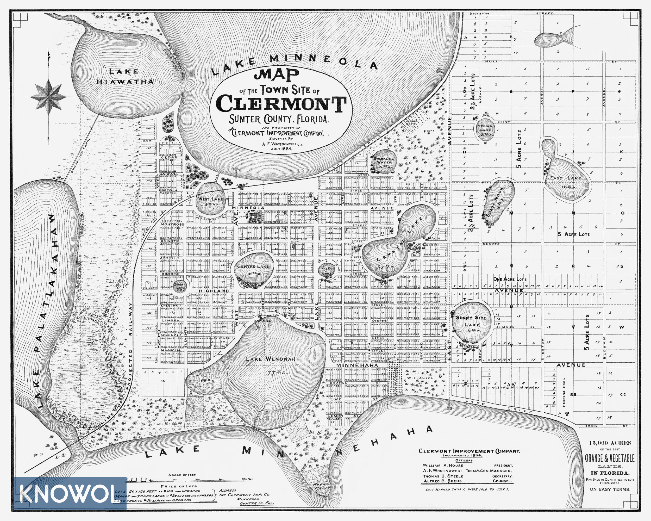 Beautifully detailed map of Clermont, Florida from 1884 - KNOWOL