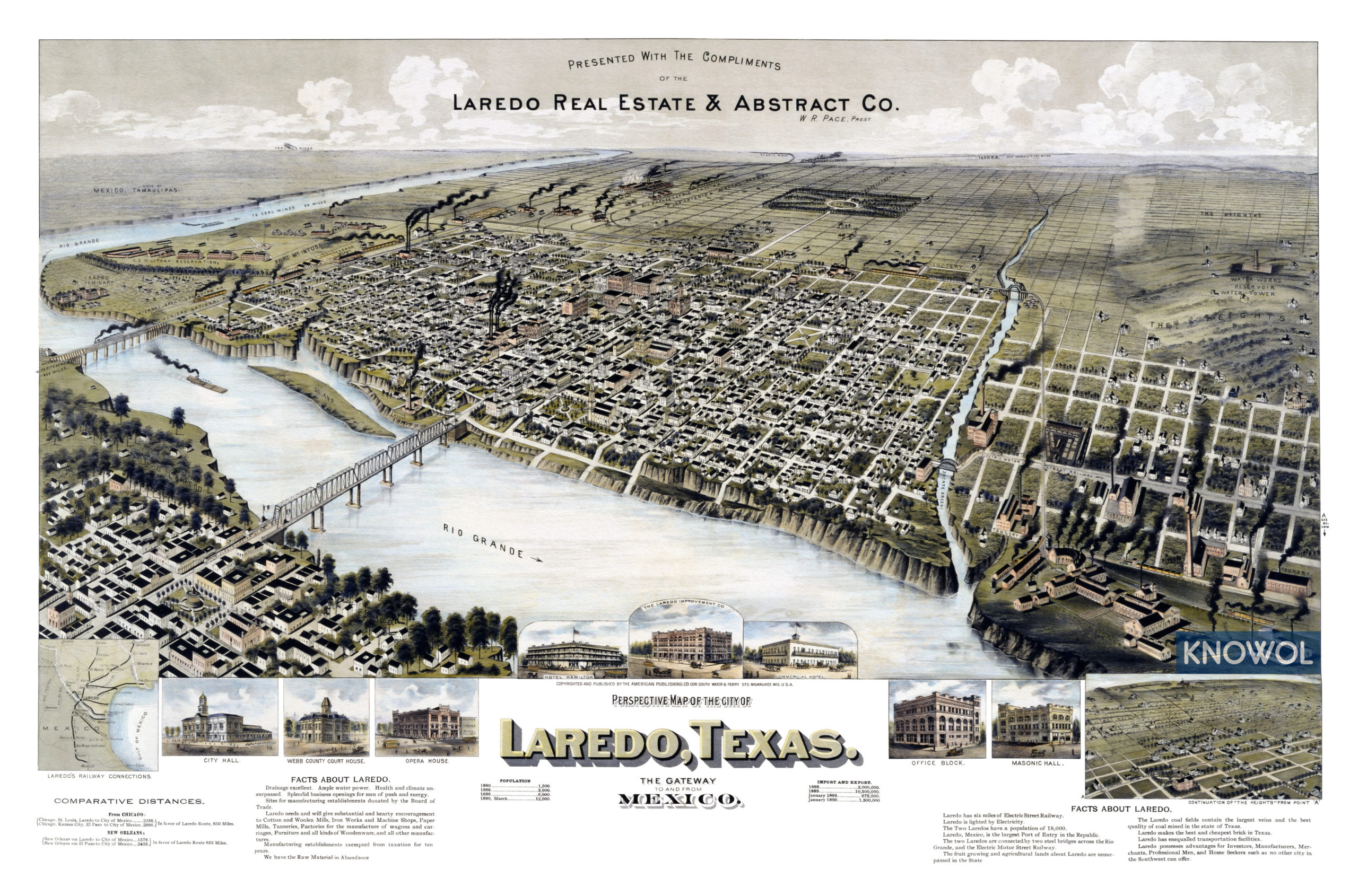 Map Of Texas Laredo.Beautifully Restored Map Of Laredo Texas From 1892 Knowol