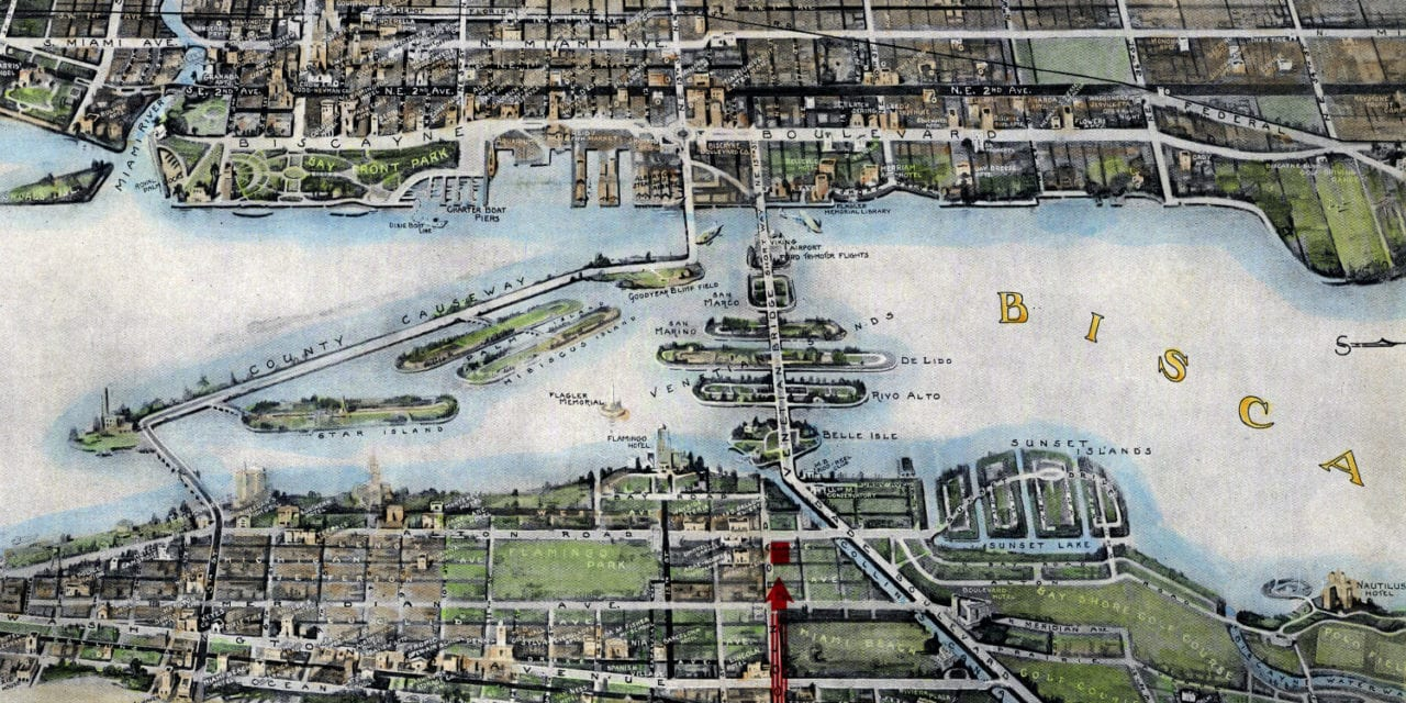 Beautifully restored map of Miami, Florida from 1934