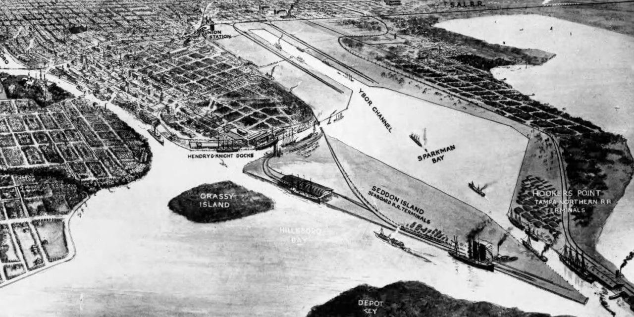 Beautifully restored map of Tampa, Florida from 1912