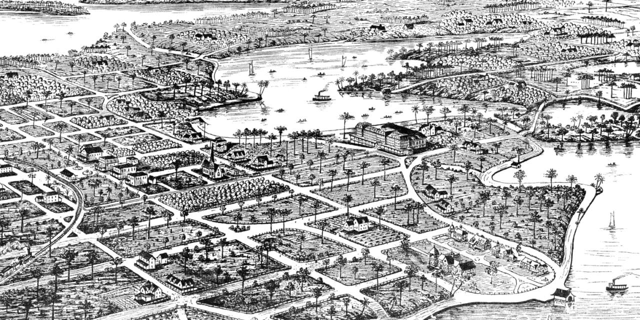 Beautifully detailed map of Winter Park, FL from 1885