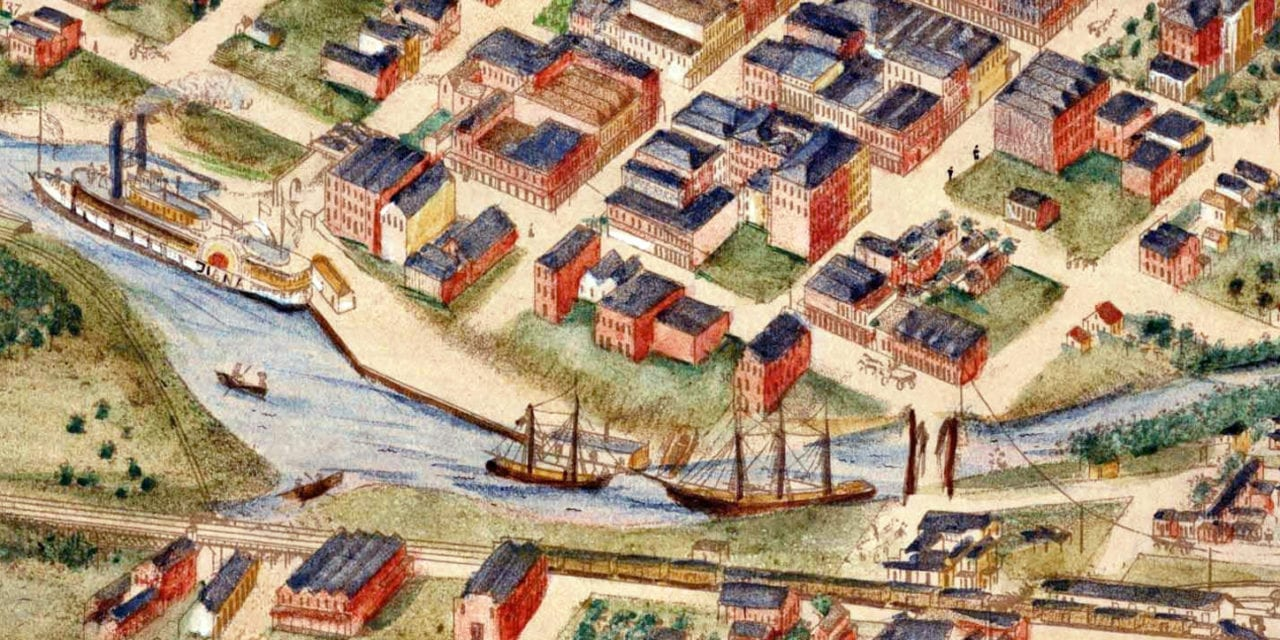 Beautifully detailed map of Houston, Texas from 1873