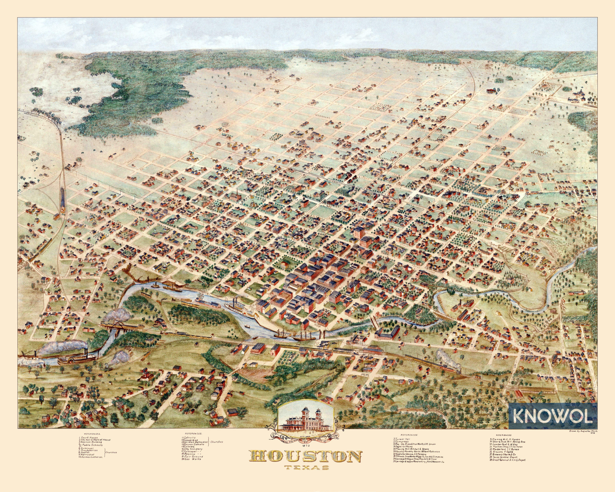 Beautifully detailed map of Houston, Texas from 1873 - KNOWOL
