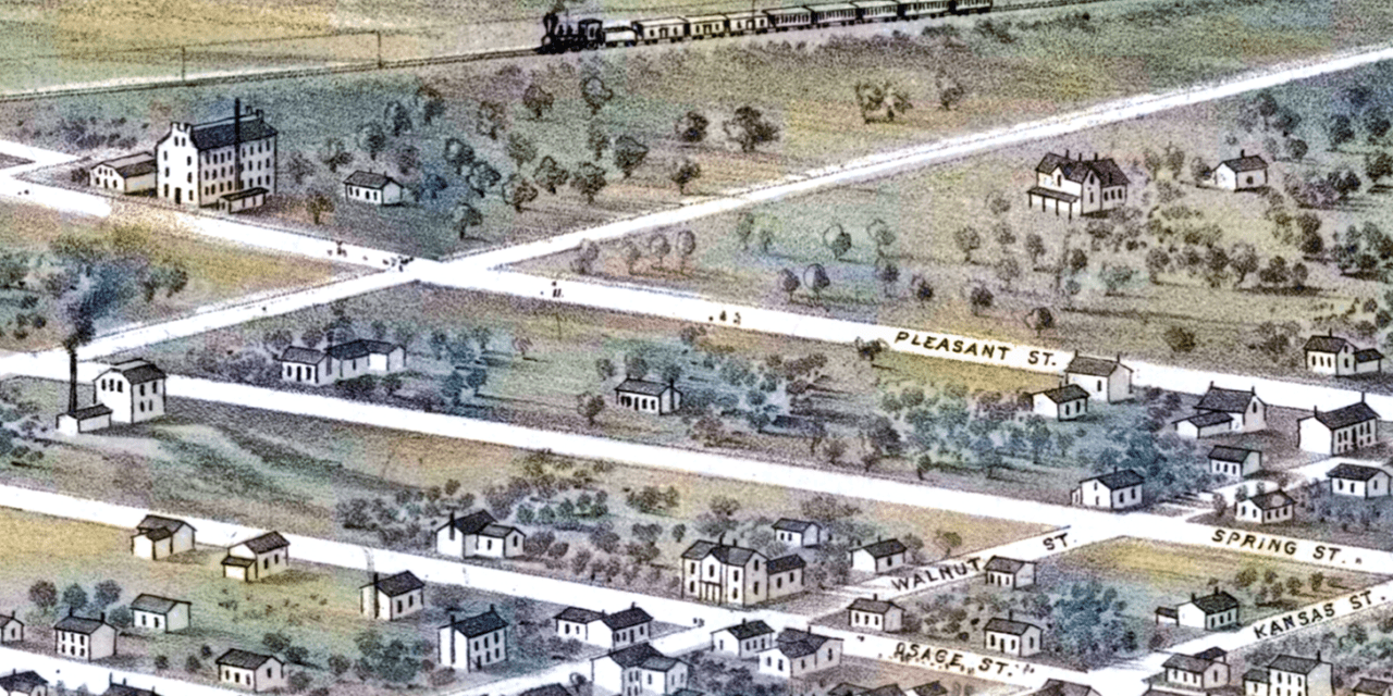 Detailed map of Independence, Missouri from 1868