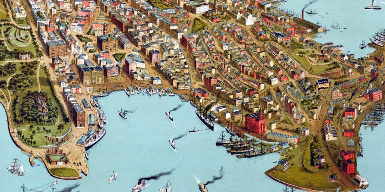 Vintage bird's eye view art print of Sydney, Australia from 1888