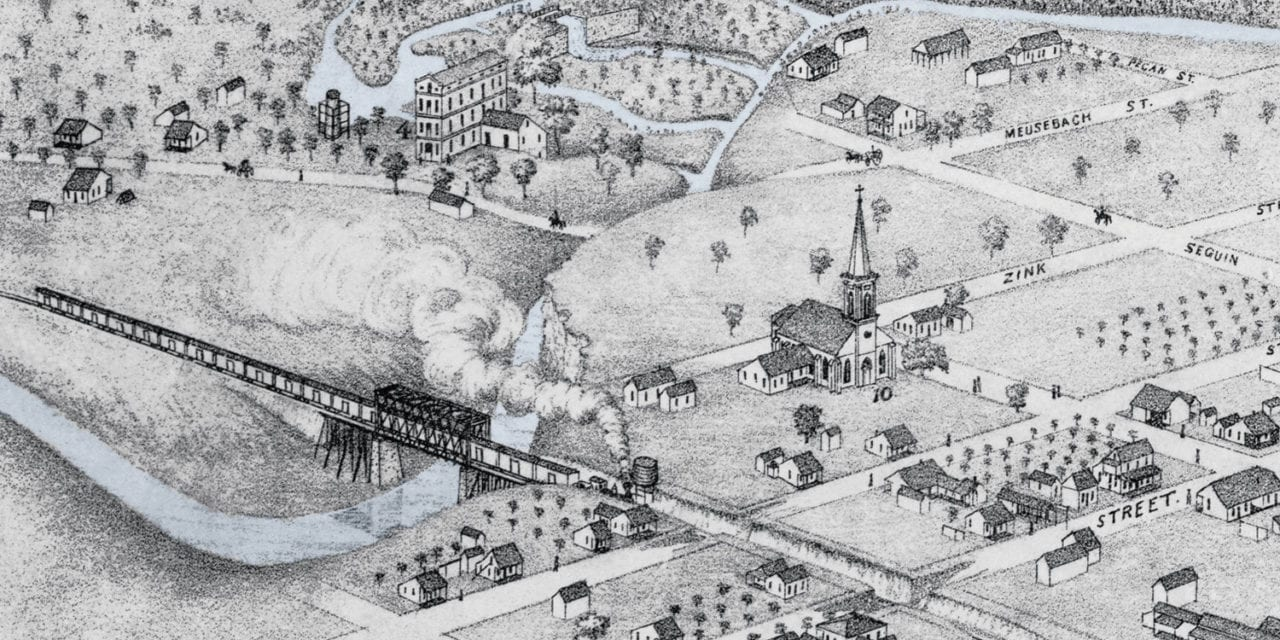 Beautifully restored map of New Braunfels, Texas from 1881