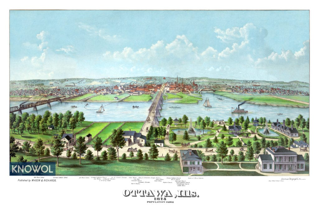 Birds Eye View of Ottawa Illinois in 1875