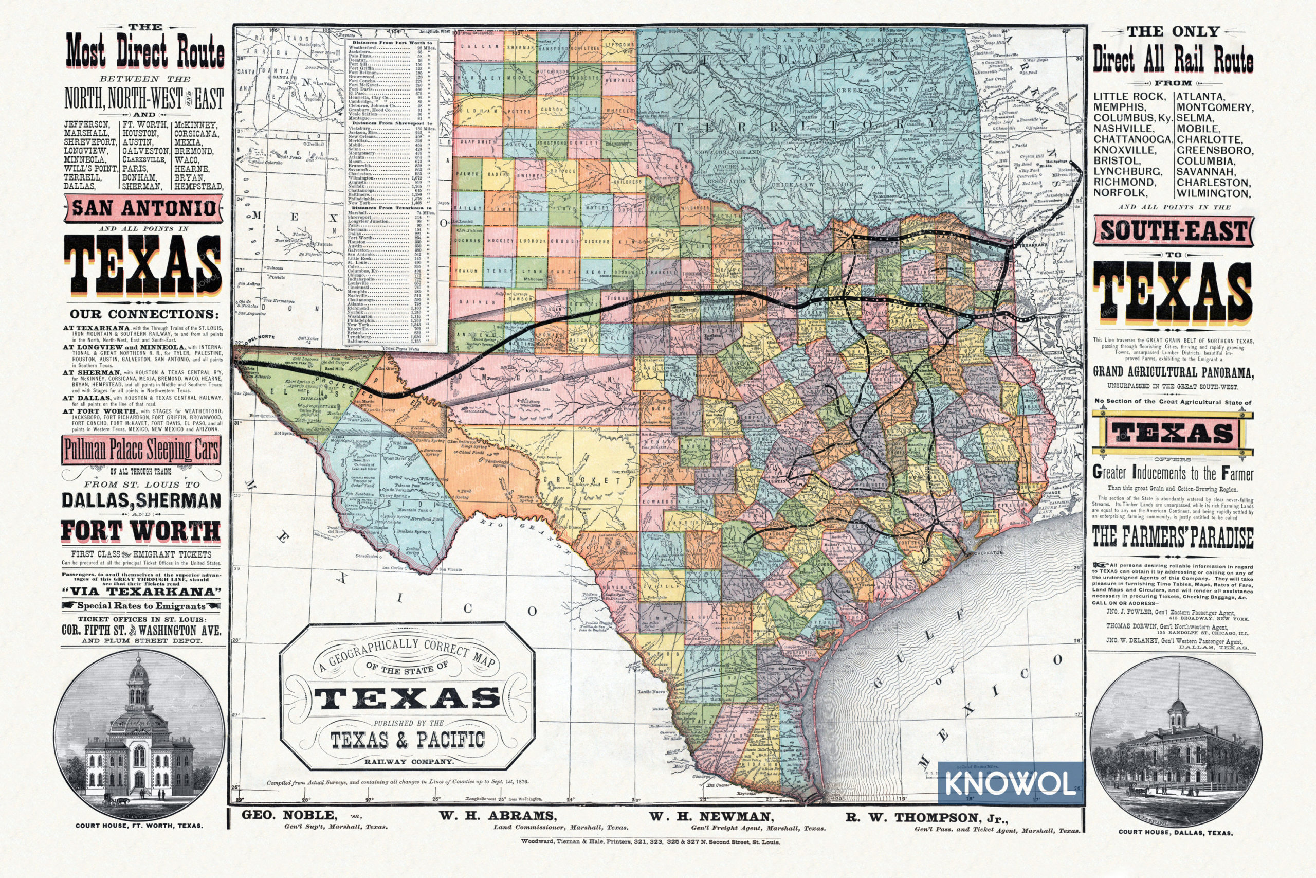 Map Of Texas Railroads.Beautifully Detailed Map Of Texas Railroads From 1876 Knowol