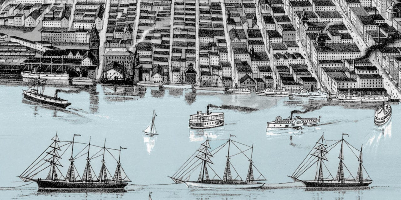Historic Bird's Eye View Map of Detroit, Michigan from 1889