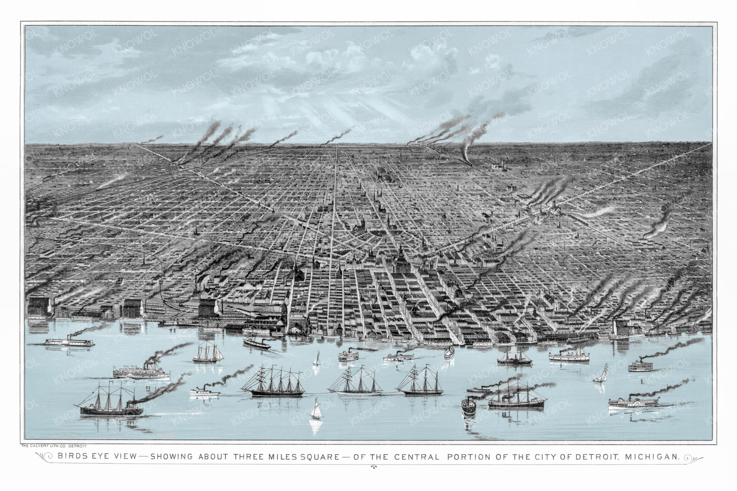 Old bird's eye view map showing Detroit Michigan in the year 1889. The ship is busy with boats and trains can be seen traversing the landscape. Smokestacks fill the air, and downtown is filled with houses. The sky and water are colored light blue, and the rest of the map is composed of shades of gray.