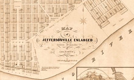 Beautifully restored map of Jeffersonville, Indiana from 1837