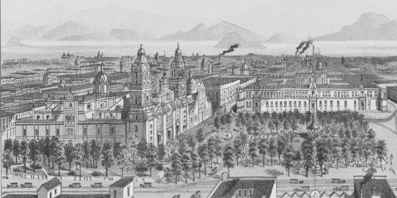 Beautifully detailed map of Mexico City, Mexico from 1890