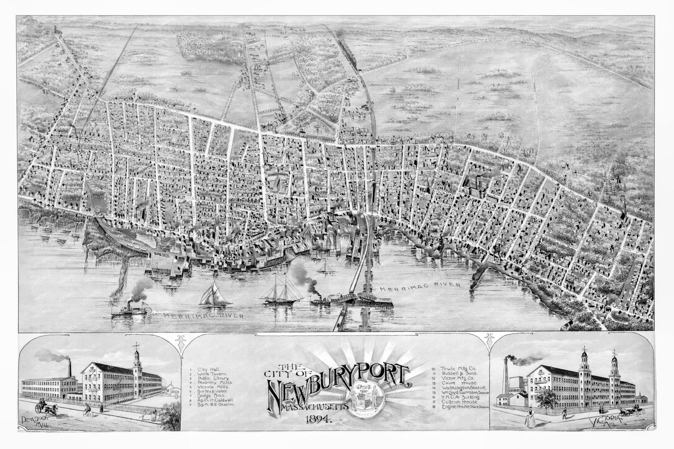 Old map showing a bird's eye view of Newburyport, Massachusetts in 1894. Detailed with street names and old landmarks.