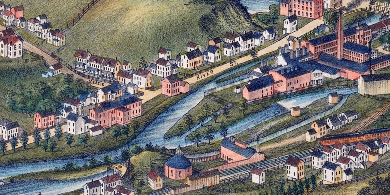 Beautifully restored map of North Adams, Massachusetts from 1881