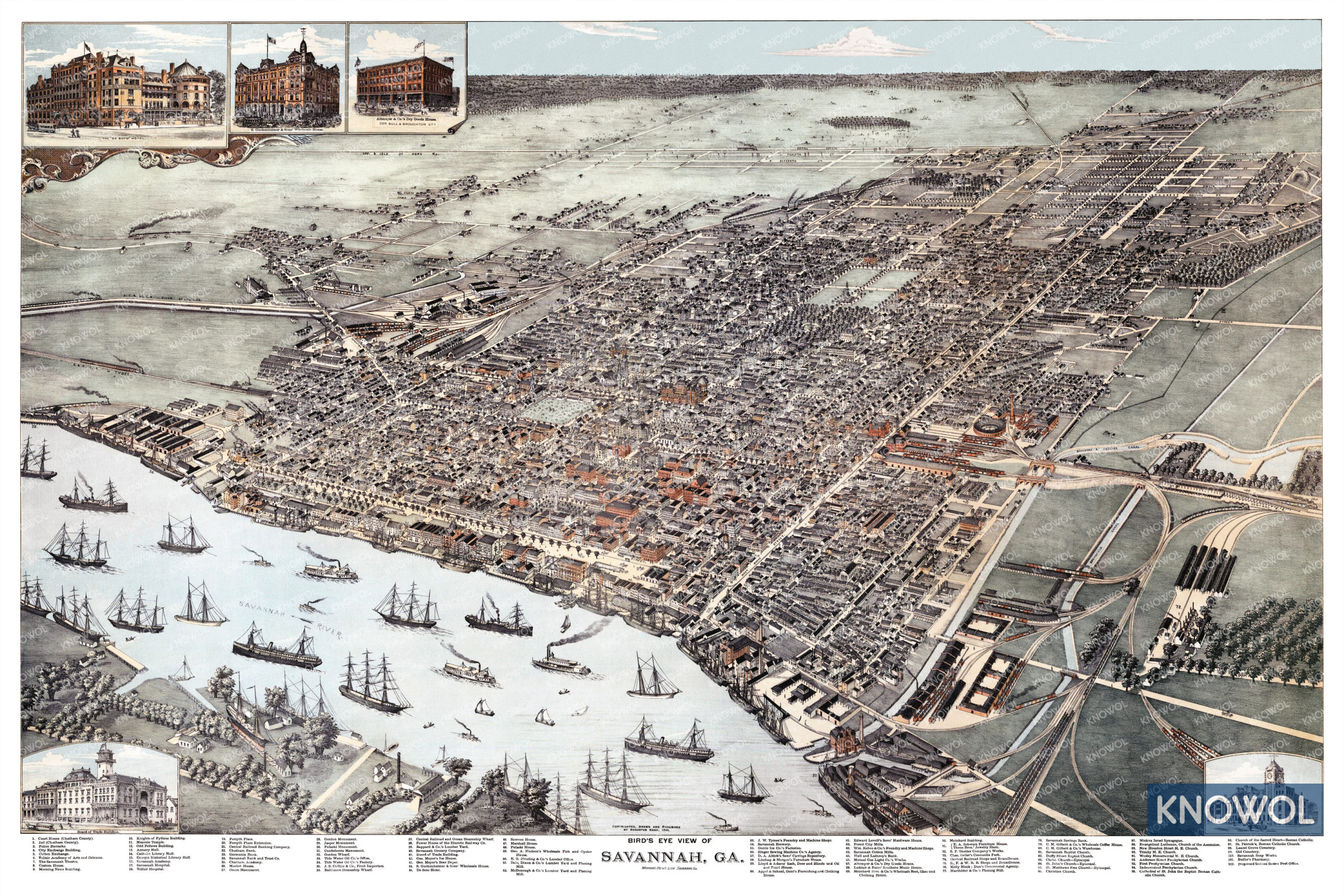 Beautifully restored map of Savannah, Georgia from 1891 - KNOWOL on map of savannah college of art and design, map of savannah ga and surrounding area, map of savannah national wildlife refuge, map of charleston sc historic district, map of downtown savannah, map of savannah airport, map of historic savannah ga,