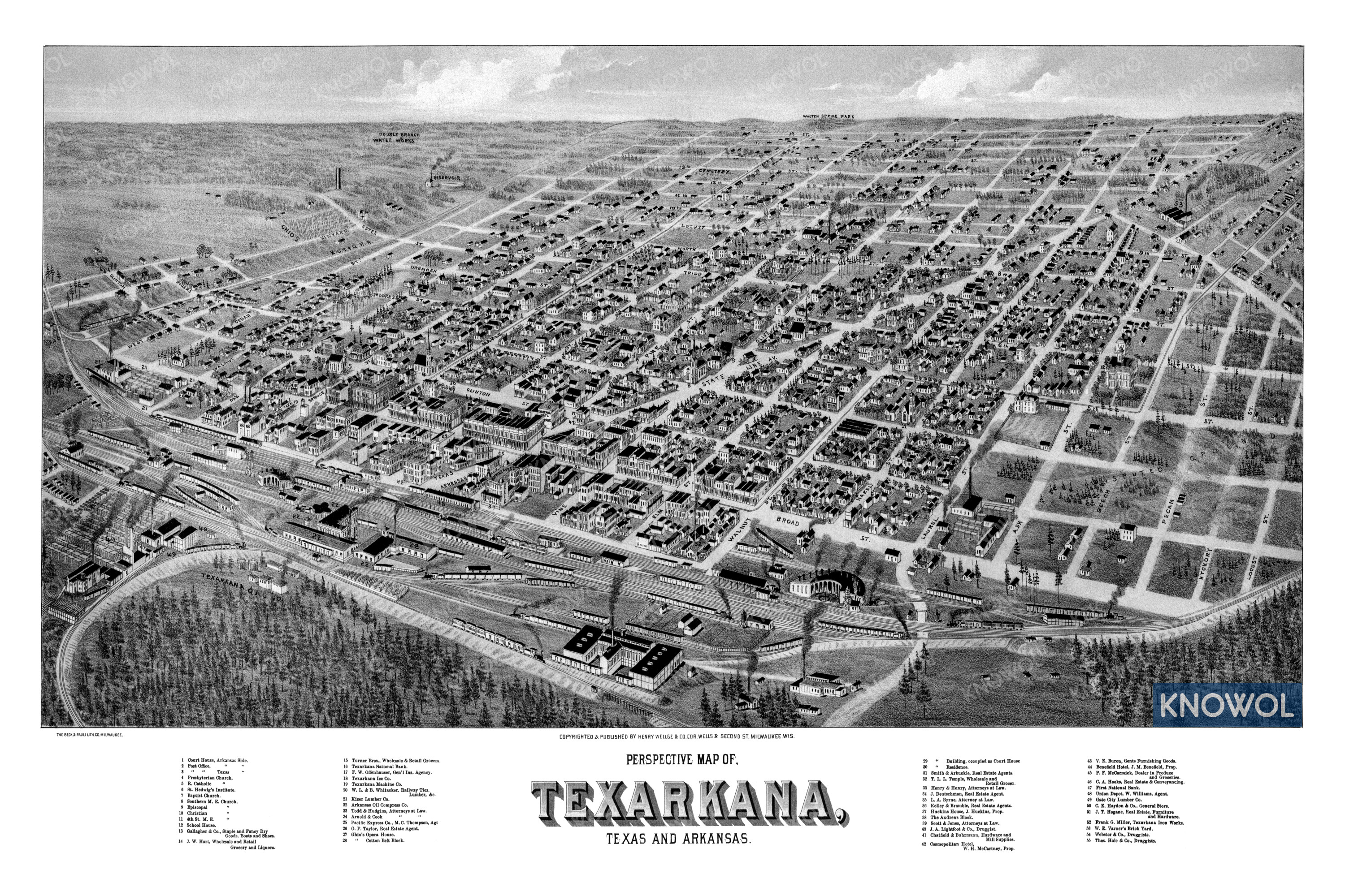 Historic old map of Texarkana, Texas and Arkansas. The map is in black and white and shows a bird's eye view of the area as it looked in 1888.