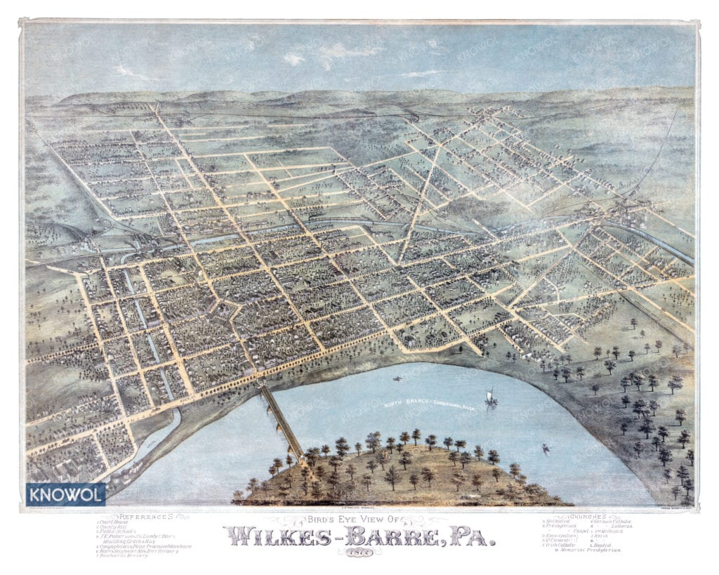 Old map showing a bird's eye view of Wilkes-Barre, Pennsylvania in 1872