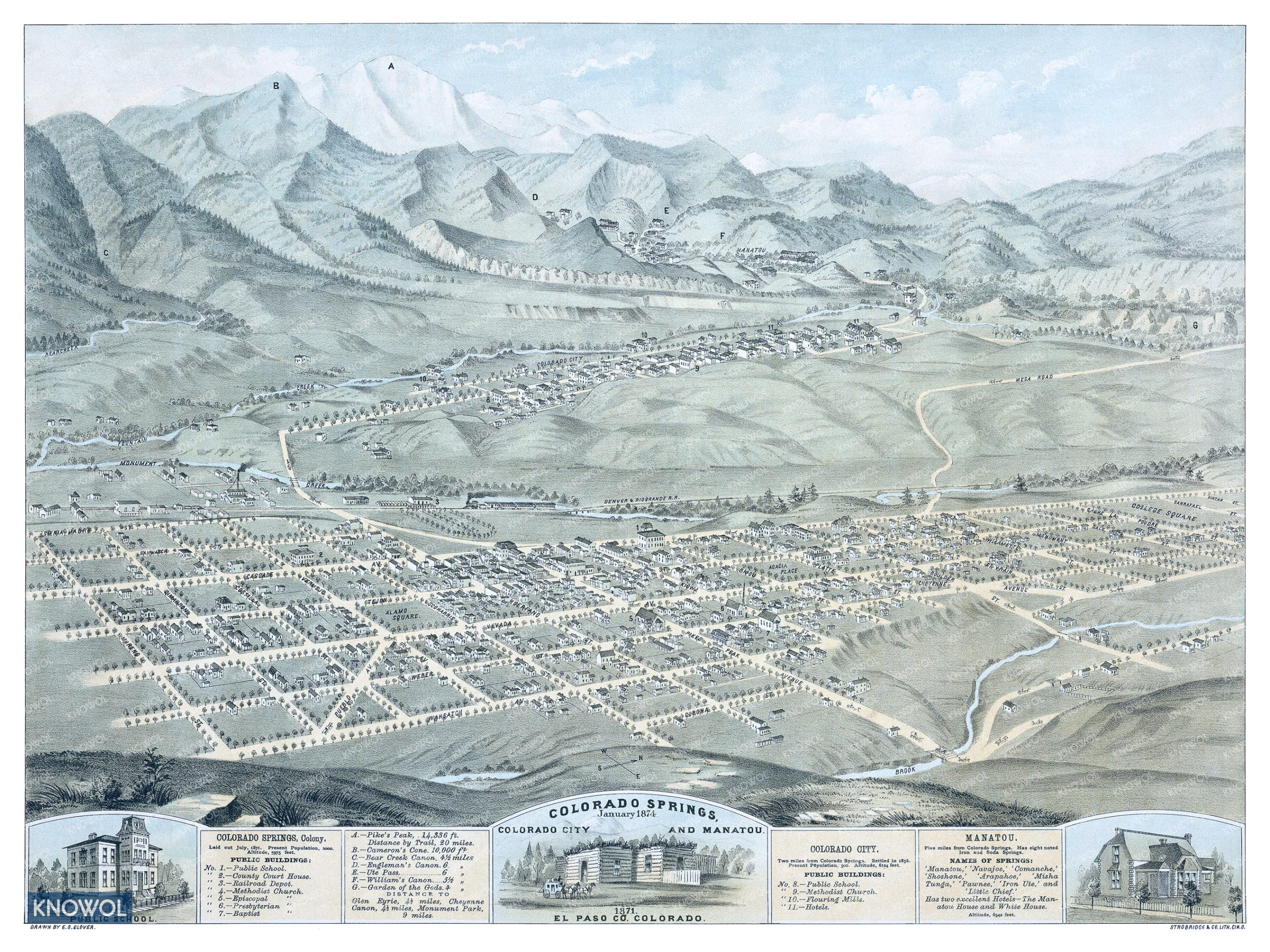 An old map showing Colorado Springs, Colorado City, and Manitou Springs as they looked in 1874. The map is in color and shows the streets and old landmarks. The map also has a detailed guide that labels each landmark and major church.