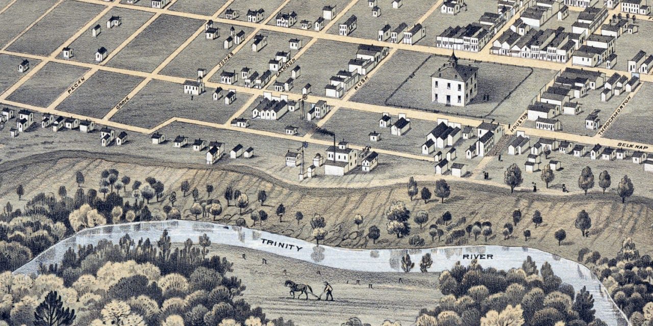 Beautifully restored map of Fort Worth, Texas from 1876