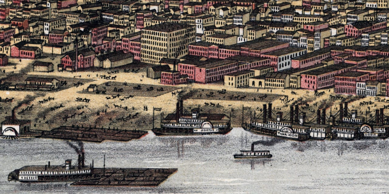 Beautifully restored map of Louisville, Kentucky from 1876