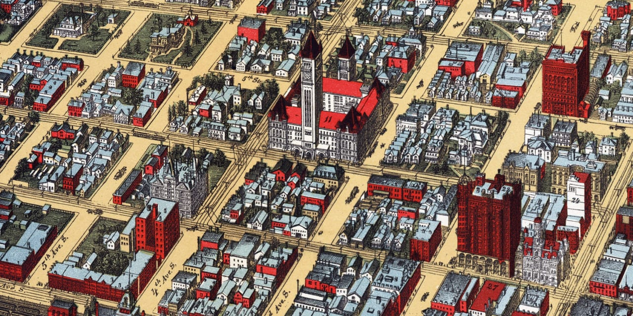 Beautifully restored map of Minneapolis, MN from 1891