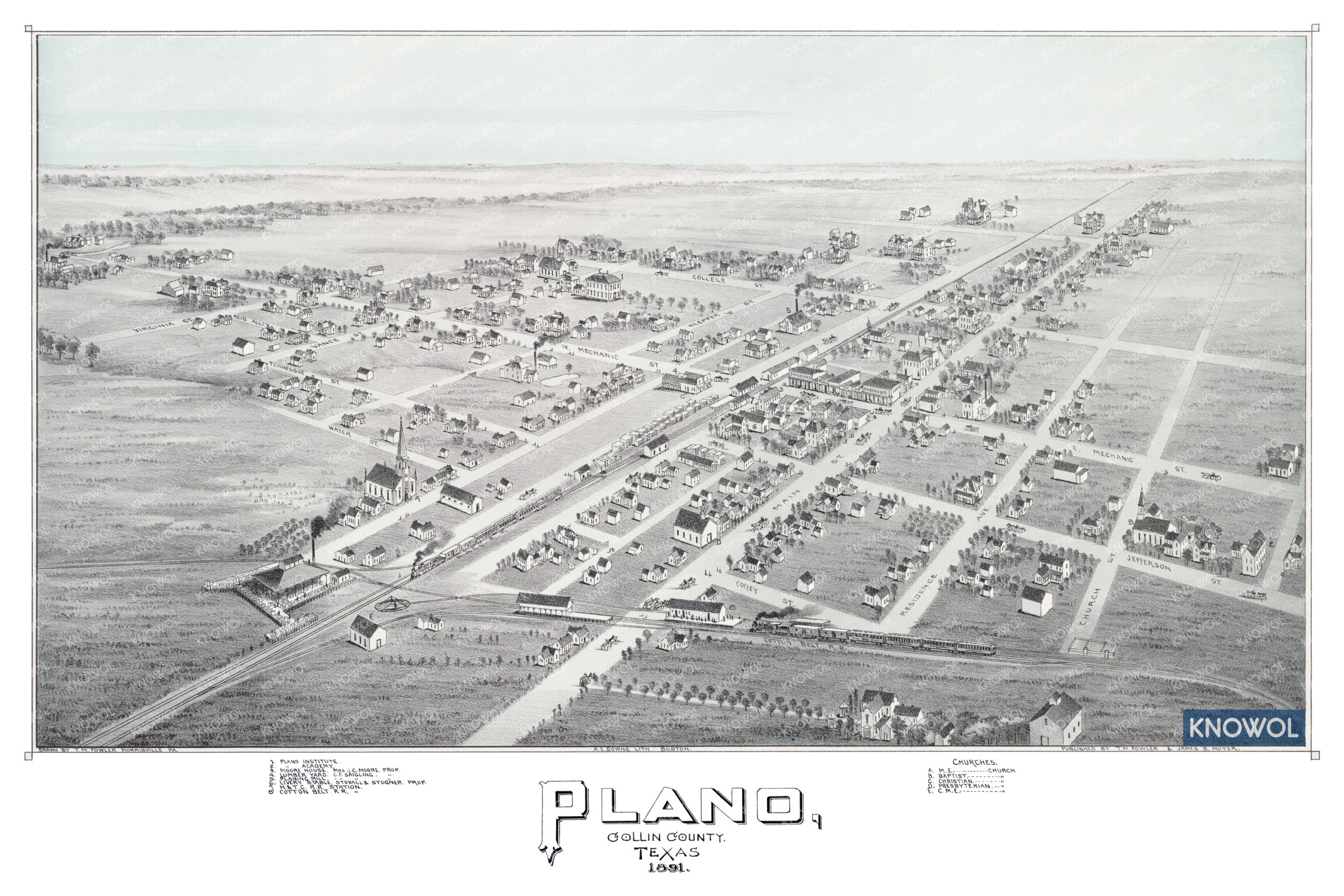 Historic bird's eye view of Plano, Texas in 1891. The map shows a detailed bird's eye view of the city as it looked in the late 19th century. The map shows railroads, street names, and other historic landmarks.