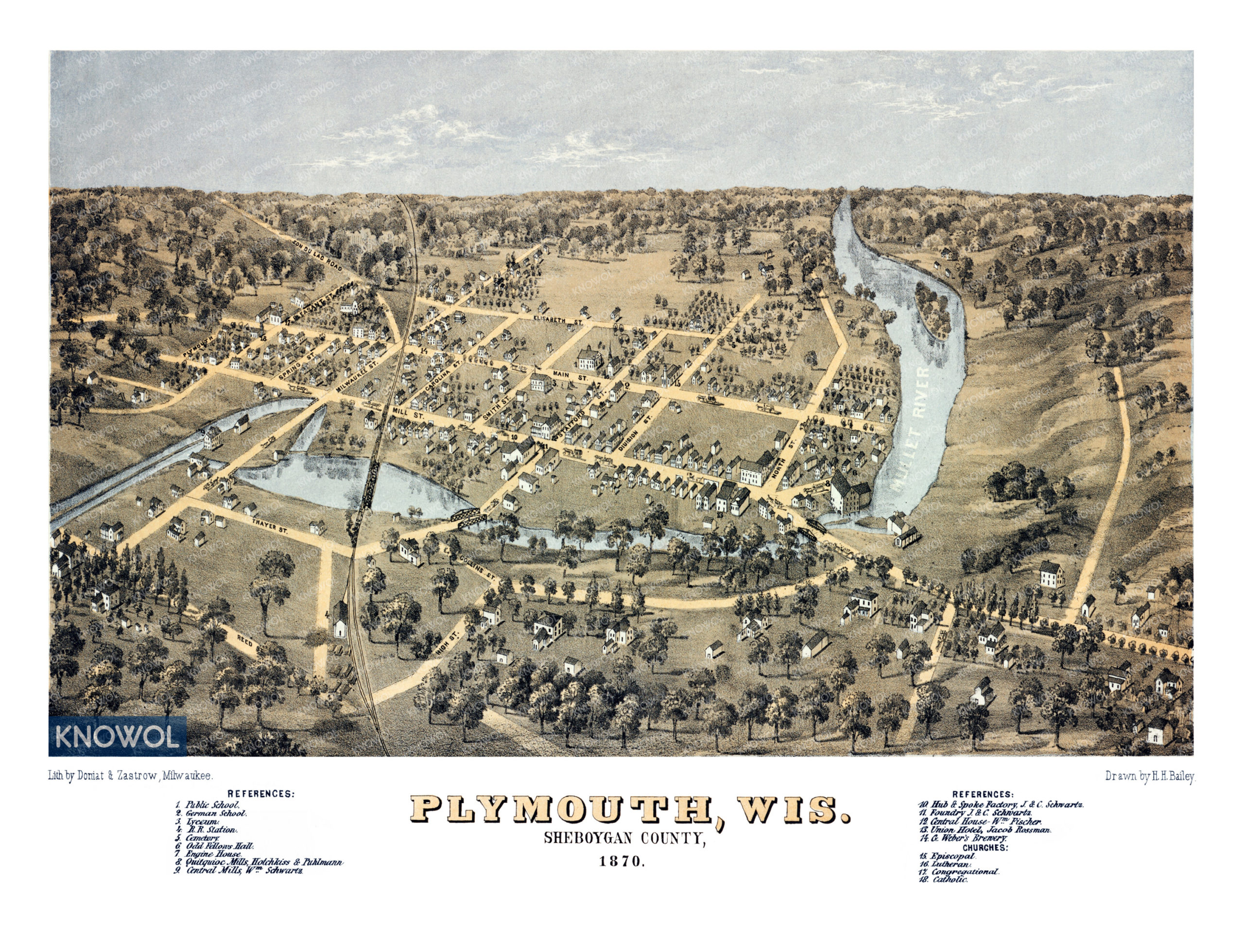 Bird's eye view map of Plymouth, Wisconsin from 1870. The map is in color and shows buildings, streets, and old landmarks of Plymouth Wisconsin from 1870.