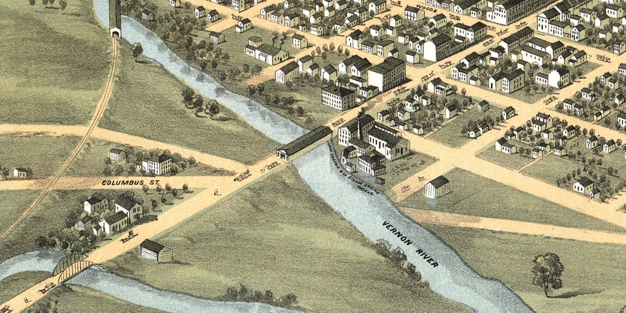 Beautifully restored map of Mount Vernon, Ohio from 1870