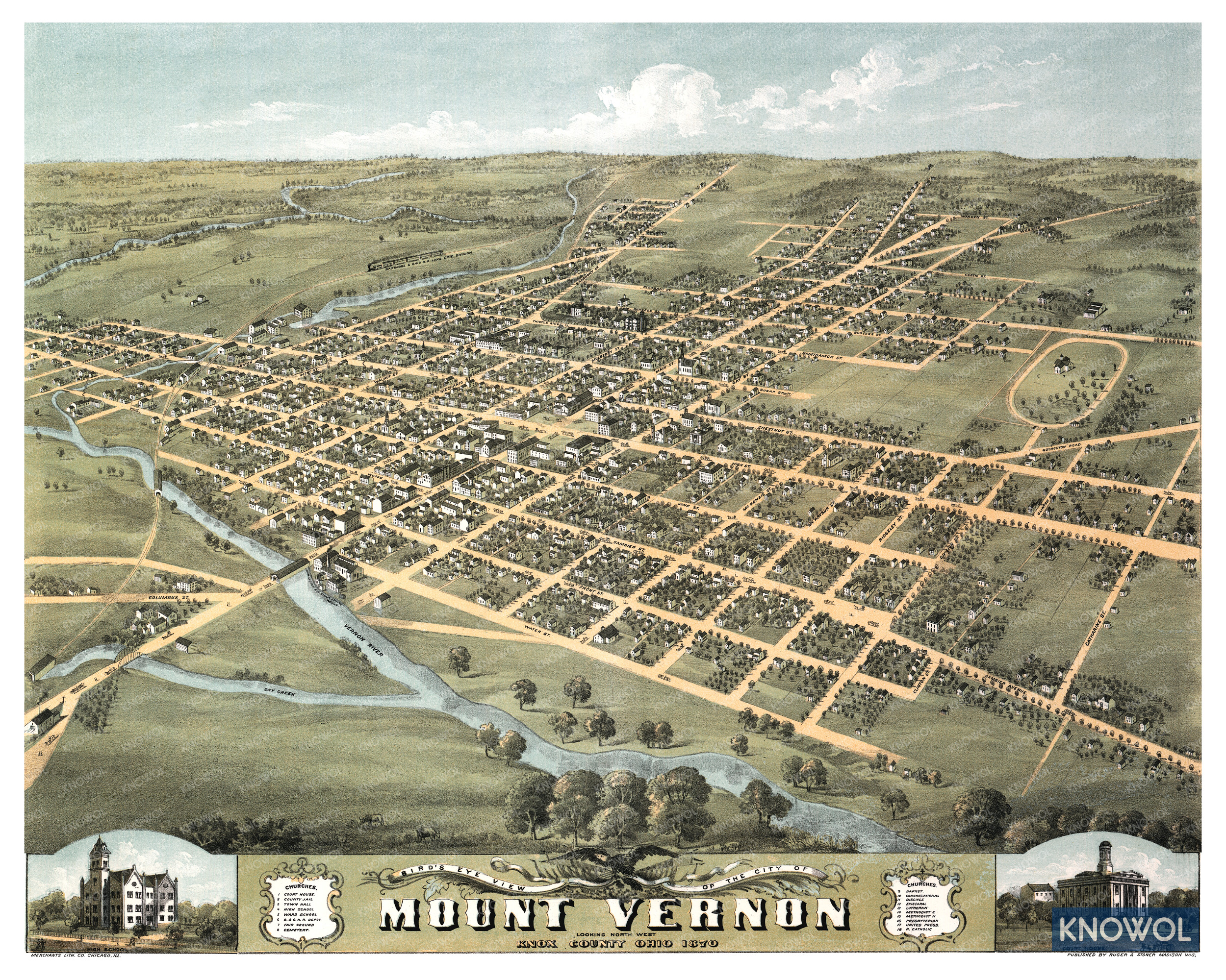 Restored old map of Mount Vernon, Ohio from 1870. The map shows a bird's eye view of the city as it used to look, including street names and old landmarks.