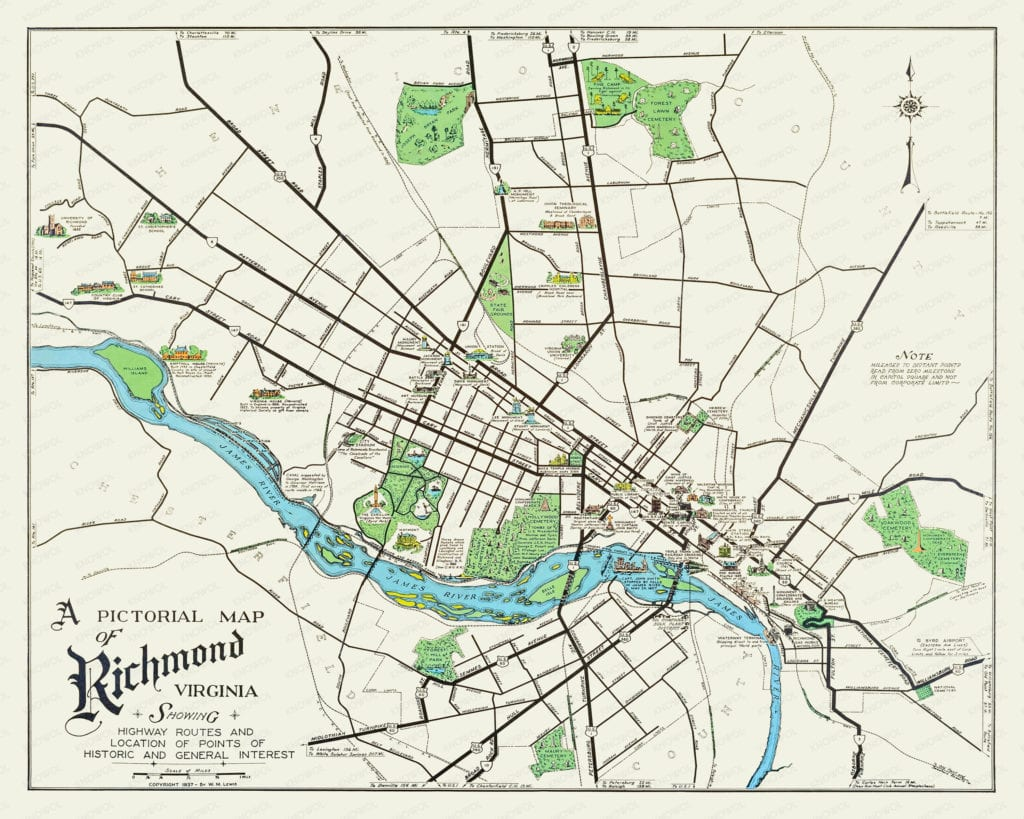 Historic old map of Richmond, Virginia from 1937. The map is a pictorial map showing landmarks, street names, and historical notes fr Richmond Virginia.