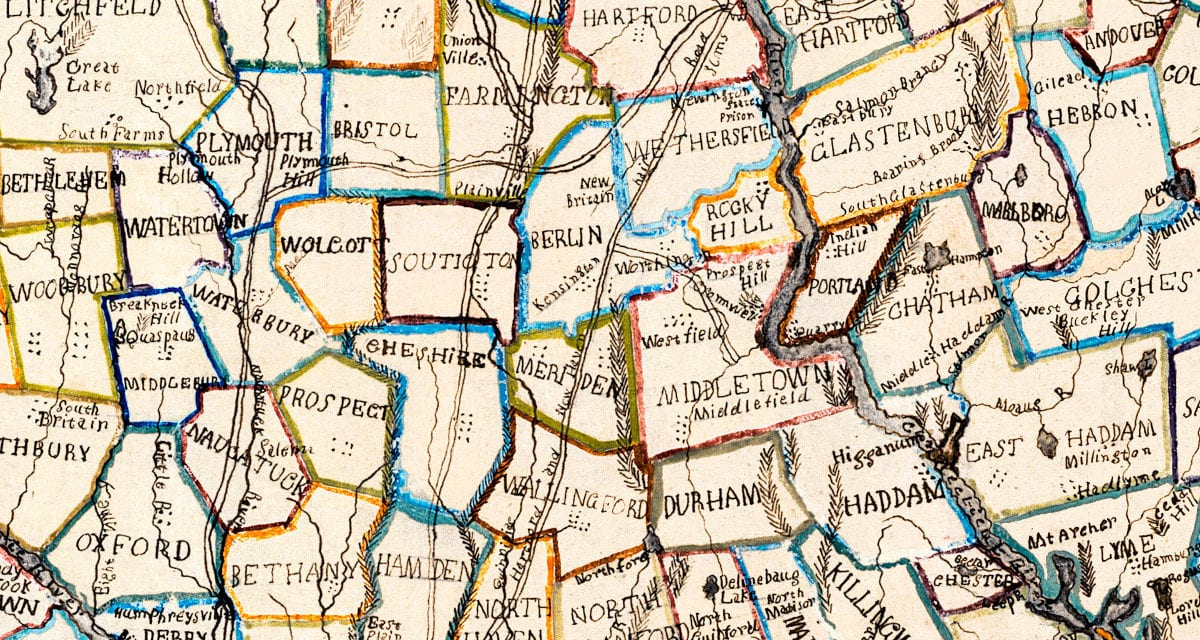 Vintage hand-colored map of Connecticut from 1857