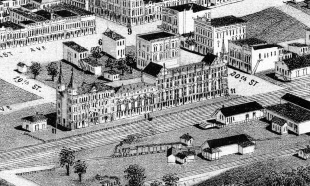 Restored bird's eye view of Birmingham, Alabama in 1885