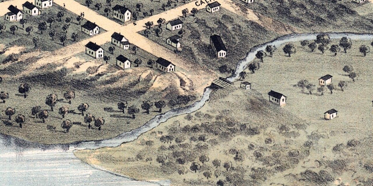 Beautifully restored map of Nebraska City, Nebraska in 1868