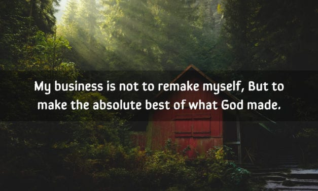 My business is not to remake myself, but to…