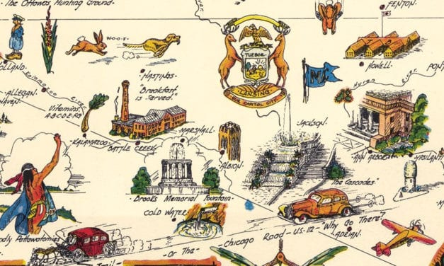 Beautifully detailed pictorial map of Michigan from 1935