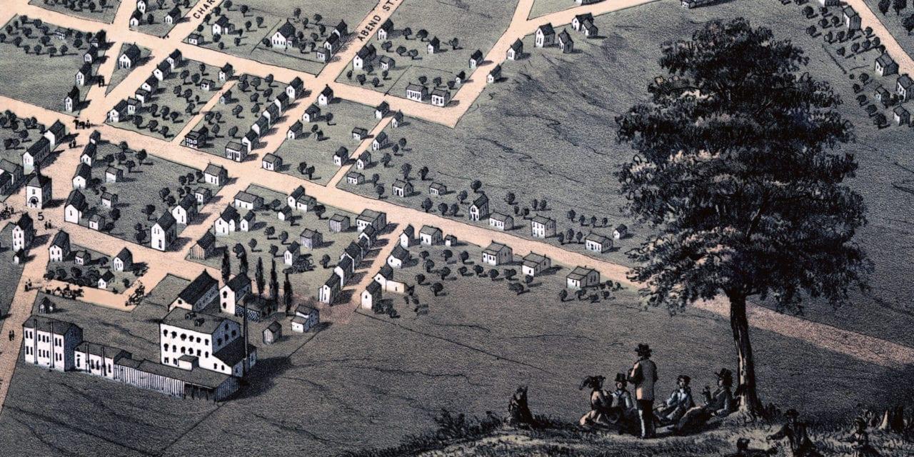 Historic bird's eye view of Belleville, Illinois in 1867