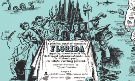 Vintage Map of Florida, a one page history dedicated to the Old Timers, 1951