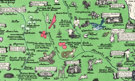 Historical map of Georgia, a one page history dedicated to the Old Timers