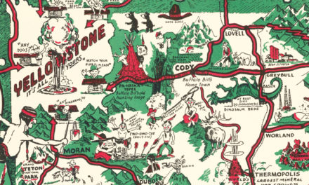 Whimsical Paint-Brush Map of Wyoming from 1938